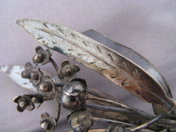 LINDEN LEAVES BROOCH vintage 1940s sterling silver marked hobe