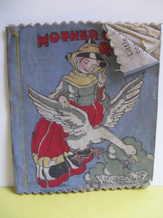 Vintage cloth book for children MOTHER GOOSE RHYMES Dean's Rag Books England 1930's
