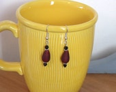Red Pressed Glass Earrings