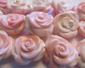 Exquisite Pink Conch Shell Carved Rose, Carved All the Way Around, Bead, 22mm, 1 Piece