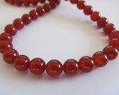 Red Agate, Full Strand, 8mm Smooth Polished Round Beads, 15.5""