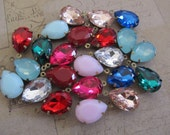 Your Choice of Color, 2 Vintage Glass Jewels, Teardop Drops 18x13mm