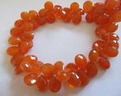 ON SALE 10 Deep Orange Carnelian Beads, Faceted 10x8mm Teardrops, Briolettes