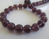 Purple Fluorite 10mm Smooth Round Beads, 10 Beads