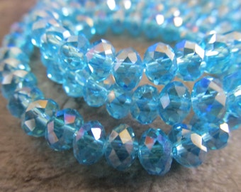 "Swiss Blue AB Faceted Rondelle Crystals, Beads, 8x6mm, 8"" Strand"