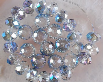 35 Blue AB Faceted Rondelle Crystals, Beads, 8x6mm