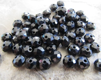 """Black Faceted Rondelle Crystals, Beads, 6x4mm, 8"""" Strand"""