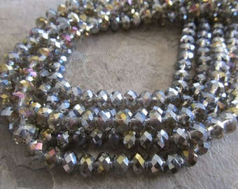"Gray AB Faceted Rondelle Crystals, Beads, 8x6mm, 8"" Strand"