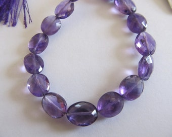 4 AA Amethyst Straight Drill Faceted Oval Beads, Approx. 10x8mm, 4 Beads