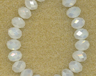 "White Faceted AB Rondelle Crystals, Beads, 8x6mm, 8"" Strand"