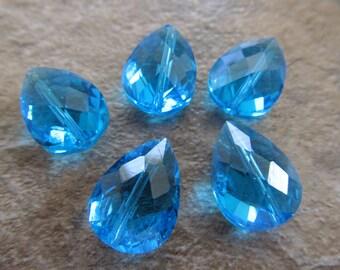 4 Aqua Blue Faceted Glass 17x12mm Briolette Beads