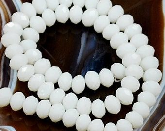 "Alabaster White Faceted Rondelle Crystals, Beads, 8x6mm, 8"" Strand"