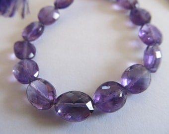 2 AA Amethyst Straight Drill Faceted Oval Beads, Approx. 10x8mm, 2 Beads