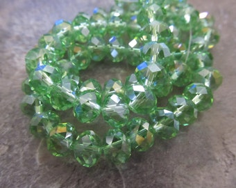 """Light Green AB Faceted Rondelle Crystals, Beads, 6x4mm, 8"""" Strand"""