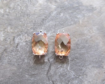 2 Citrine glass faceted rectangle in rhodium plated brass setting connectors