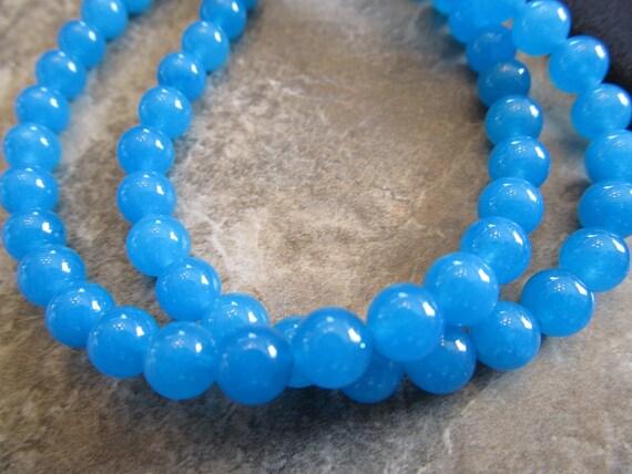 "Dark Aqua Blue Malaysia ""Jade"", 6mm Smooth Round Beads, 8"" Strand"