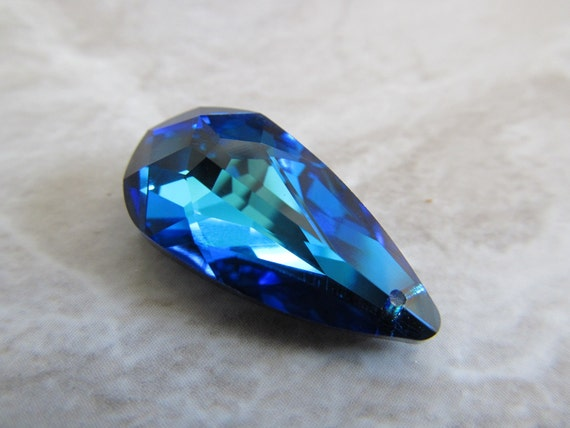 1 Bermuda Blue Swarovski Crystal Drop, 24x12mm Faceted Teardrop Pendant