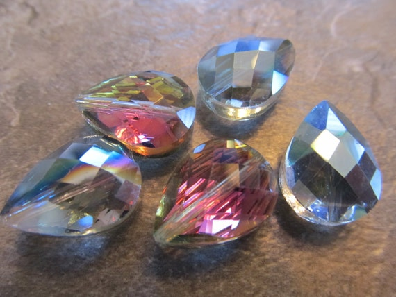 4 Multicolored Faceted Glass 17x12mm Briolette Beads, Just Gorgeous
