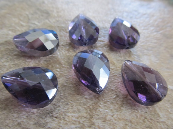 4 Dark Purple Faceted Glass 18x13mm Briolette Beads, Just Gorgeous