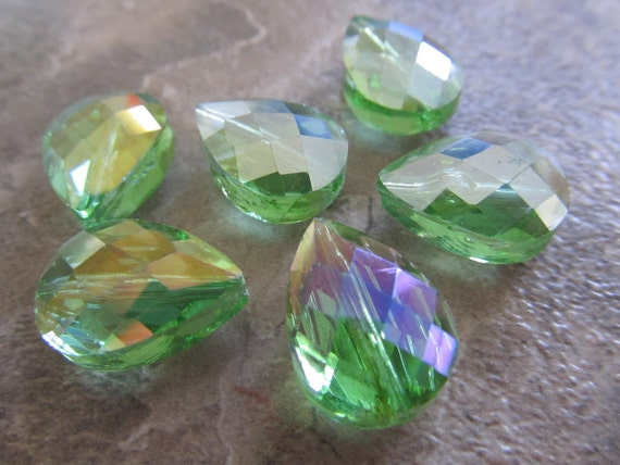 4 Peridot Green Faceted Glass 17x12mm Briolette Beads, Just Gorgeous