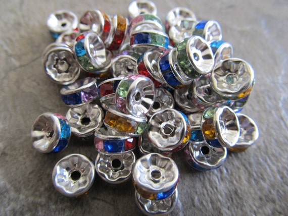 50 Silver Tone Rondelle Spacer with Multicolored Rhinestones 8mm