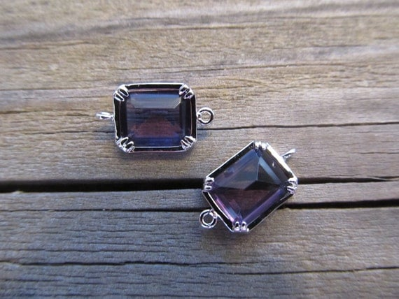 Amethyst color faceted rectangle Glass in bright rhodium plated brass setting connectors, 2 Pieces
