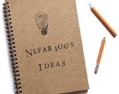 Nefarious Ideas hand stamped spiral notebook  journal by BrownBooks