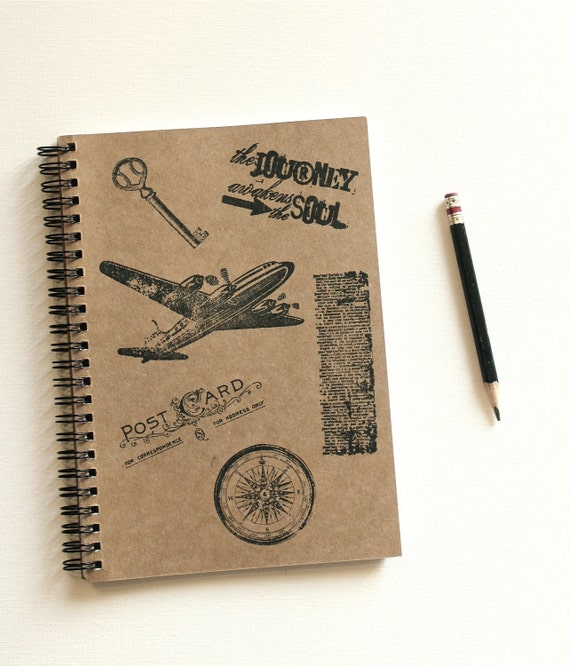 The Journey Awakens the Soul Hand Stamped Spiral Notebook Journal
