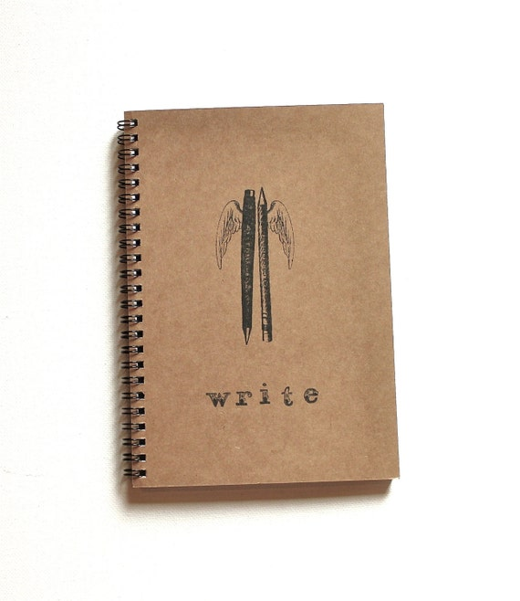 steampunk pen pencil journal notebook wings WRITE