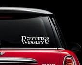 Potter - Weasley 2012 Presidential Car Window Decal / Sticker