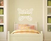 Filigree Butterfly Wall Decal With Custom Name - Girl's Room or Baby Nursery