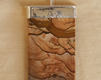 This Sterling Silver Pendant Stone is Landscape or Bureau Jasper.