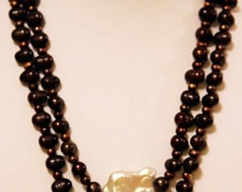 Freshwater Platinum  Square Pearls are the Focus of this 2 Strand Brown Pearl Necklace
