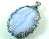 Reserved for Ashley Blue Lace Agate wire wrapped Pendant with Ethiopian silver beads