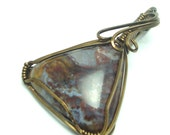 Wire Wrapped Pendant Jasper Cabochon in Vintage Bronze
