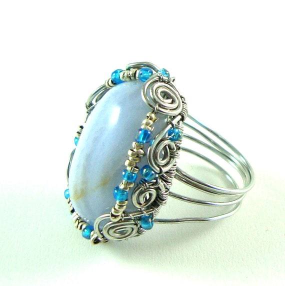 Blue Lace Agate Cabochon Ring with Ethiopian Silver Beads and Blue seed beads