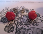 SALE was 33 Now 22 Queen of Hearts Red Roses- Natural Red Coral and Surgical Steel Stud Earrings
