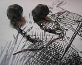 Neptune Labradorite nugget and gunmetal dangle earrings