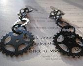 Machinations Black brass dangle steampunk earrings