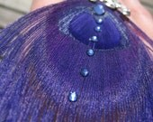 Royal purple peacock feather cocktail ring