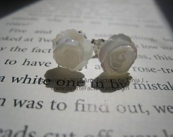 White Roses Hand Carved Mother of Pearl and Sterling Silver Studs