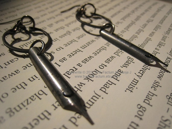 From Russia With Love Soviet era pen nibs dangle earrings, gunmetal earrings