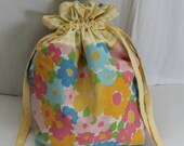 Lined Drawstring Bag for gifts, snacks, projects using floral vintage sheets