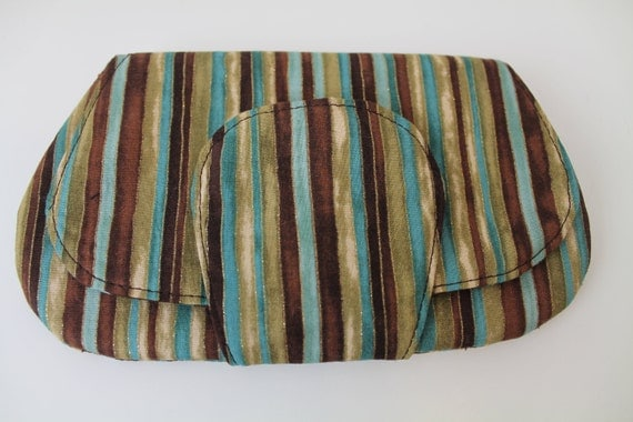 Pocket Clutch / Wallet / Purse, Brown Blue Gold Stipes with Brown / Blue circle lining