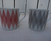 pair of imperial china mugs, pastel red/pink and grey harlequin/argyle pattern