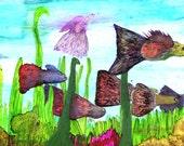 ORIGINAL Guppies Fish Aquarium Painting Colorful Tropical Art Illustration Rainbow Guppy