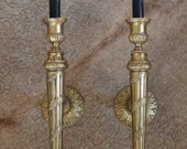French Wall Sconces- Pair of French Brass Torch Design Wall Sconces