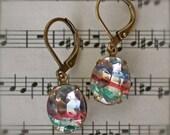 vintage rainbow iris dangle earrings antique brass lever back estate vintage blue red green