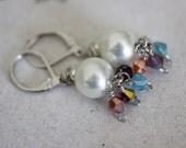 Pearl glass bead dangle earrings Swarovski silver fun
