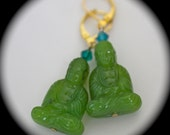 Green Buddha earrings turquoise Swarovski crystal bead gold leverback